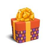 Bunte violette und orange Feier-Geschenkbox mit Bogen-Isolat lizenzfreie abbildung