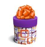 Bunte violette und orange Feier-Geschenkbox mit Bogen-Isolat stock abbildung