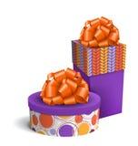 Bunte violette und orange Feier-Geschenkboxen mit Bögen vektor abbildung