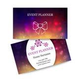 Bunte Visitenkarten der Schablone für Event-Planer Lizenzfreie Stockbilder