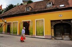 Bunte Vlaska-Straße in der alten Mitte von Zagreb Lizenzfreie Stockfotografie