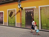 Bunte Vlaska-Straße in der alten Mitte von Zagreb Lizenzfreies Stockbild