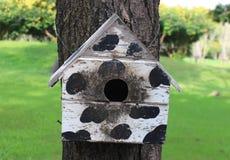 Bunte Vogel-Häuser im Park, der an einem Baum, altes Vogelhaus im Park, Vogelhaus mit natürlichem Grün hängt, verlässt Hintergrun Lizenzfreie Stockfotos