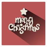 Bunte Weihnachtsgrußkarte mit netter Beschriftung und einem Geschenk Stockfotografie