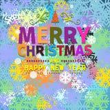 Bunte Weihnachtskarte und Grüße des neuen Jahres Stockfoto