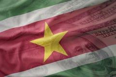 bunte wellenartig bewegende Staatsflagge von Surinam auf einem Dollargeldhintergrund Ei auf goldenem Hintergrund Stockfoto