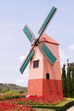Bunte Windmühlen stockbild