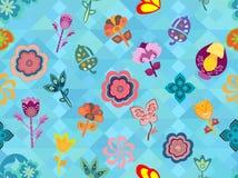 Bunte wunderliche Blumenmusterfliese über nahtloser blauer geometrischer Beschaffenheit vektor abbildung