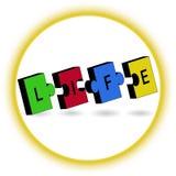 Bunte zackige Stücke mit LEBEN-Buchstaben, unterzeichnen herein Kreis Lizenzfreies Stockbild
