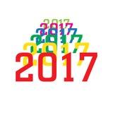 2017 bunte Zahlen des neuen Jahres auf weißem Hintergrund Lizenzfreie Stockfotos