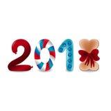 Bunte Zahlen 2018 des Vektors mit acht als Knochen mit Bogen und zwei als Wurst Folgende Schablonenillustration des neuen Jahres Lizenzfreies Stockfoto