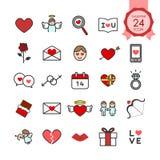 Bunte Zeichen und flache Ikonen der Symbole stellten vom Herzen und von den romantischen Elementen für Valentinsgrußtag ein Stockbild