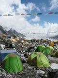 Bunte Zelte auf niedrigem Lager Everest in Nepal Lizenzfreies Stockfoto
