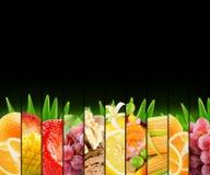 Bunte Zitrusfrüchte des Regenbogens streifen Sammlung auf dem schwarzen Ba Lizenzfreie Stockbilder