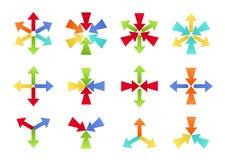 Bunte zusammenlaufende und auseinanderlaufende Formen Stockbild