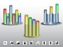 Bunte zylinderförmige Diagramme mit Ikonen Stockfotos