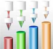 Bunte zylinderförmige Diagramme mit Pfeilen und leeren Notizblöcken Lizenzfreies Stockbild
