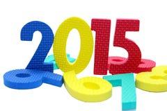 2015 in buntem auf einem lokalisierten Weiß lizenzfreies stockbild