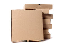 Bunten av brun pizza boxas med skärmasken Arkivbild