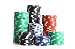 Bunten av poker gå i flisor royaltyfri fotografi