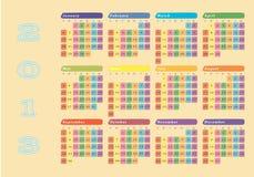 bunter 2013 Wandkalender lizenzfreie abbildung