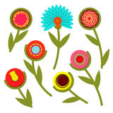 Bunter abstrakter Frühlingsblumensatz Auch im corel abgehobenen Betrag Stockfoto