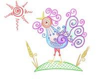 Bunter abstrakter Hahn gezeichnet durch Bleistift mit Syn und Weizen Stockbilder