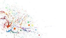 Bunter abstrakter Hintergrund mit Wasserfarbspritzen auf Papier Stockfotos