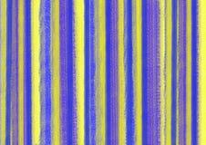 Bunter abstrakter Pastellhintergrund mit vertikalen Pinselstrichen in den blauen und gelben Farben Format der Größe A4 Stockbilder