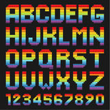 Bunter Alphabetsatz Regenbogen gerundete Quadrate Lizenzfreie Stockfotografie