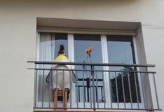 Bunter alter Balkon herein in die Stadt stockfotografie