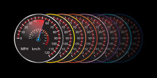 Bunter Autogeschwindigkeitsmesserzusammenfassungs-Hintergrundvektor Stockbild