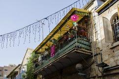 Bunter Balkon in Jerusalem lizenzfreies stockfoto