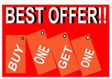 Bunter bester Angebotkauf man erhalten eine Bildknopf-Netzikone lizenzfreie abbildung