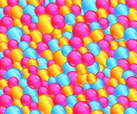 Bunter Blasenballgrubenhintergrund gefüllt mit Spaßrosa, gelbe, blaue Blasen vektor abbildung