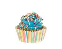 Bunter blauer kleiner Kuchen mit besprüht Stockfotografie