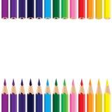 Bunter Bleistifthintergrund Farbbleistift auf einem weißen Hintergrund Vektor-Kohlestift Stockbild