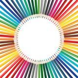 Bunter Bleistiftrahmen in der Kreisformanordnung Lizenzfreies Stockbild