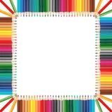 Bunter Bleistiftrahmen in der quadratischen Formanordnung Stockbilder