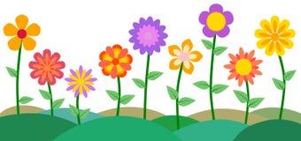 Bunter Blumen-und Garten-Vektor-Illustrations-Hintergrund Lizenzfreies Stockfoto
