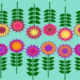 Bunter Blumen-und Stamm-Illustrations-Vektor-Hintergrund Stockfoto