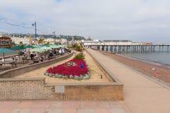 Bunter Blumen und Urlauber Teignmouth-Pier und Strand Devon England Großbritannien lizenzfreie stockfotografie