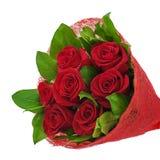 Bunter Blumenblumenstrauß von den roten Rosen getrennt auf weißem backgro Stockbild