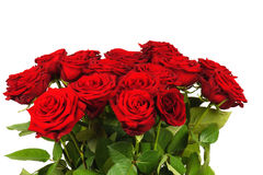 Bunter Blumenblumenstrauß von den roten Rosen lokalisiert Lizenzfreies Stockbild