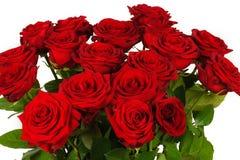 Bunter Blumenblumenstrauß von den roten Rosen lokalisiert auf Weiß Lizenzfreies Stockbild