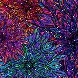 Bunter Blumenpatchworkhintergrund Mandala boho Chicart Reiche Blumenverzierung Vier Schneeflocken auf weißem Hintergrund Lizenzfreies Stockbild