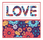 Bunter Blumenstrauß des Vektors blüht Liebestextrahmen Stockfotos