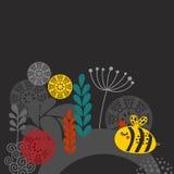 Bunter Druck mit Biene und Blumen Lizenzfreie Stockfotos