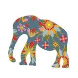 Bunter Druck mit Elefantschattenbild, Bild Stockfotografie