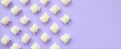Bunter Eibisch ausgebreitet auf violettem Papierhintergrund kreative Pastellbeschaffenheiten mit Kopienraum minimal vektor abbildung